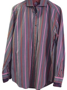 Robert Graham Button Down Shirt Grey, pink,red