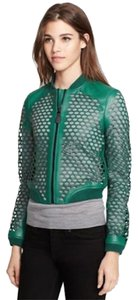 Burberry Military Lambskin Green Leather Jacket