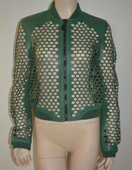 Burberry Military Lambskin Green Leather Jacket Image 1