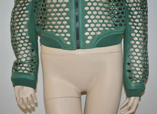 Burberry Military Lambskin Green Leather Jacket Image 2