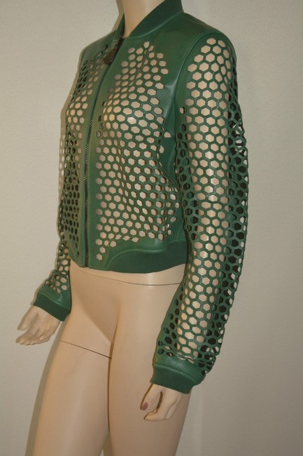 Burberry Military Lambskin Green Leather Jacket Image 4