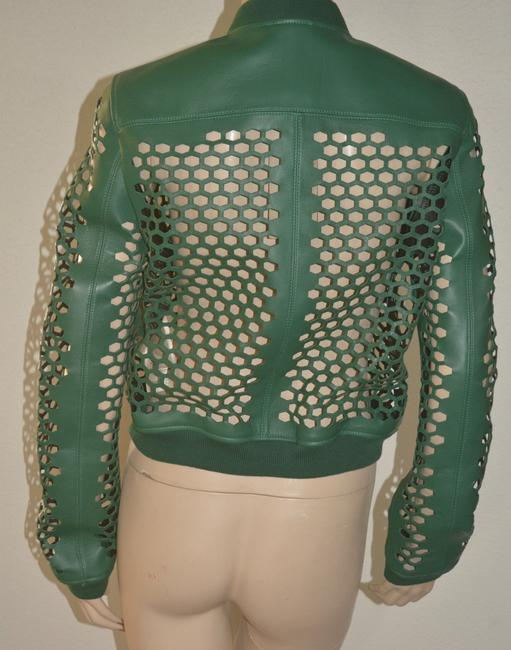 Burberry Military Lambskin Green Leather Jacket Image 6