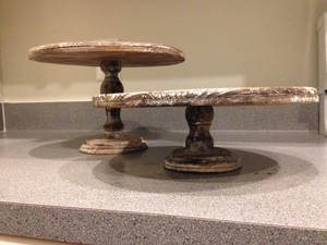 Brown 2 Cake Stands Rustic Wood