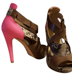 Joan & David Peep Toe Bootie Stiletto python and brown with hot pink heel Boots