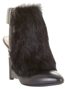 BCBGMAXAZRIA Runway Fur Leather Black Boots