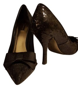 Joan & David Sequin Bow Special Occasion black sequins Pumps