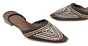Bottega Veneta Slingback Woven Brown Black White Flats