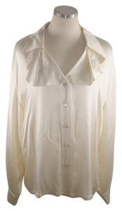 Escada Ruffle Raw Silk Germany Button Down Shirt Ivory