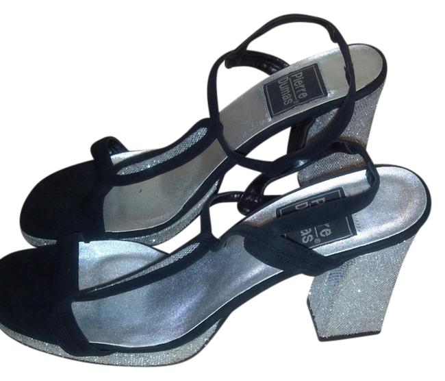 Item - Silver and Black Sandals Size US 10