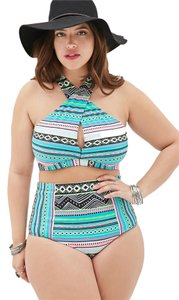 Forever 21 Forever 21 Plus White Jade Tribal High-waisted Bikini Set 2pc Swimsuit 2x