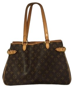 Louis Vuitton Shoulder Hobo Leather Tote in Brown and Tan Monogram