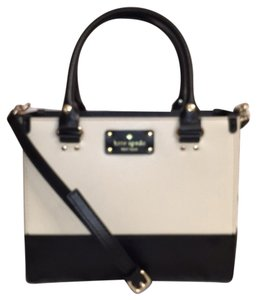 Kate Spade Leather Cross Body New/nwt Satchel in Black Porcelain (Off White)
