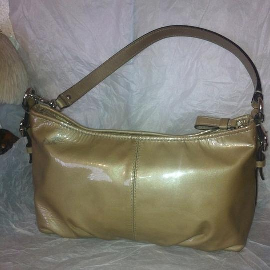 Coach Convertible Clutch Coated Leather Satchel in Golden Image 1