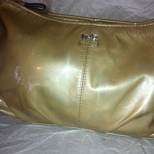 Coach Convertible Clutch Coated Leather Satchel in Golden Image 2