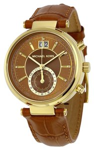 Michael Kors Brown Leather croc embossed gold tone Ladies Dress Watch