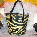 Dooney & Bourke Leather Zebra Print Bucket J7263338 Tote in White, Black Image 1