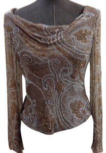 Carmen Marc Valvo Beaded Gold Top Blue, Brown,Gold, Nude