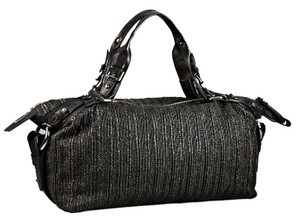 Kenneth Cole Raffia Straw Leather Oversized Satchel in Black