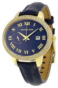 Michael Kors Gold Tone Oval Crystal Pave Blue Leather Strap Designer watch