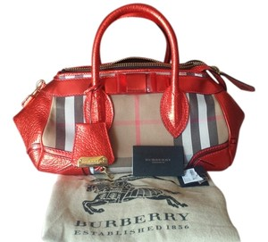 Burberry Hobo Housecheck Satchel in Metallic Red, Tan and Black