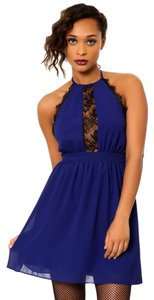 Other short dress Blue Halter Halter Lace Trim on Tradesy