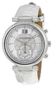 Michael Kors Silver Metallic Croc Embossed Leather Strap Crystal Pave Ladies Glam Watch