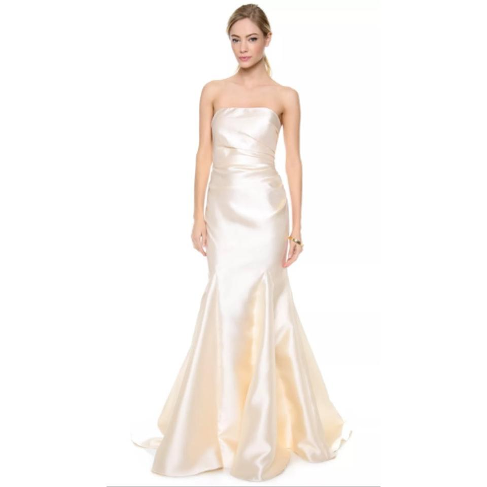 Badgley Mischka Ivory Satin Formal Wedding Dress Size 8 M