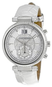Michael Kors Silver Metallic Croc Leather Strap Crystal Bezel ladies Watch