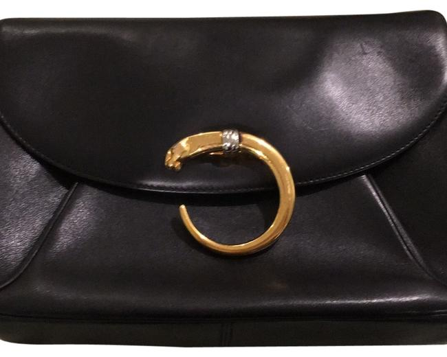 Item - Cl350595 Black with Gold Panther Leather Cross Body Bag