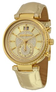 Michael Kors Gold Metallic Cros Leather Embossed Crystal Pave Ladies Watch