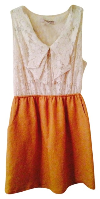 Preload https://item4.tradesy.com/images/forever-21-white-lacemustard-yellow-short-casual-dress-size-8-m-1084238-0-0.jpg?width=400&height=650