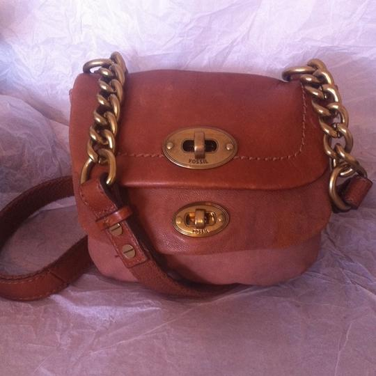 Fossil Mason Small Flap Leather Brass Chain Zb5135 Cross Body Bag Image 1