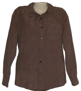 Sonoma Ultra Suede Long Sleeve Button Down Shirt Brown