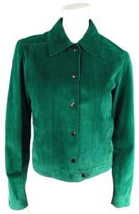 CoSTUME NATIONAL Denim Jewel Tone Suede Green Leather Jacket