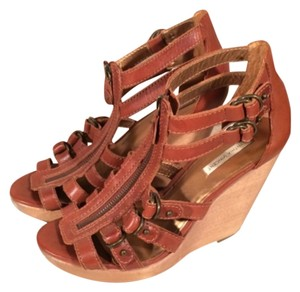 Twelfth St. by Cynthia Vincent Cognac Leather Gladiator Brown-Cognac Wedges