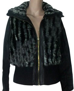 Baby Phat BLACK Faux Fur Leather Jacket