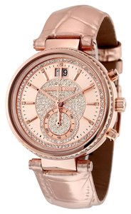 Michael Kors Rose Gold Metallic Croc Embossed Leather Crystal Pave Glam Ladies Watch