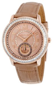 Michael Kors Crystal Rose Gold Beige Croc Embossed Leather Strap Ladies Watch