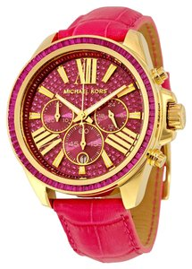 Michael Kors Pink Crystal Pave Dial Leather Strap Ladies Sport Watch