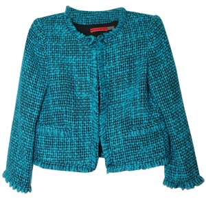 Alice + Olivia Tweed Boucle Jacket Peacock Textured Turquoise and Black Blazer