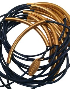 Alliegro Alliegro blue leather and gold brass set of 15 bracelets