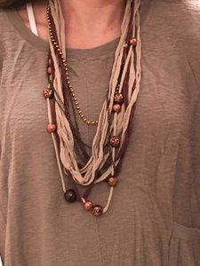Topshop Brown mixed material layered necklace