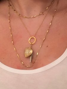 Other Gold chain layered charm locket necklace