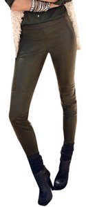 H&M Faux Leather Skinny Sold Out Skinny Pants Olive/Khaki Green