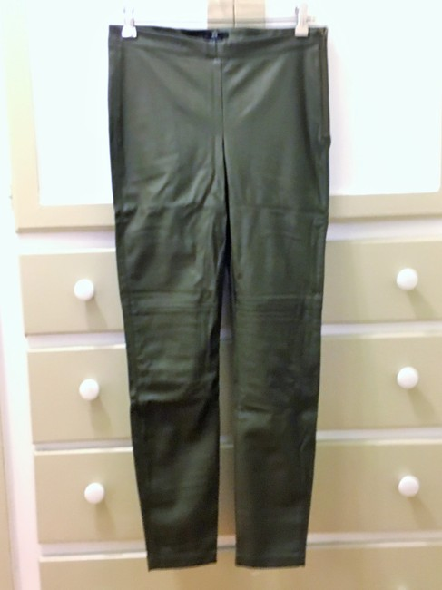 H&M Faux Leather Sold Out Skinny Pants Olive/Khaki Green Image 1