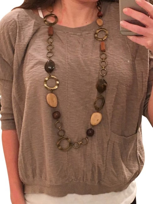 Item - Brown Gold Plated and Wood Chain Link Necklace