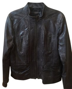 Bernardo Zip Up Coat Leather Grey Leather Jacket