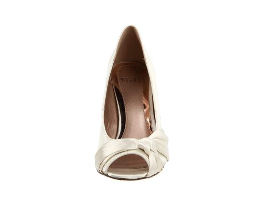 Mooties Tooties Satin Heels Peep Toe Wedding Weddings Knots Knotted Ivory Formal