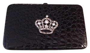 Daisy Shoppe Snakeskin Crown Sparkle Shiny Wallet New Black Clutch