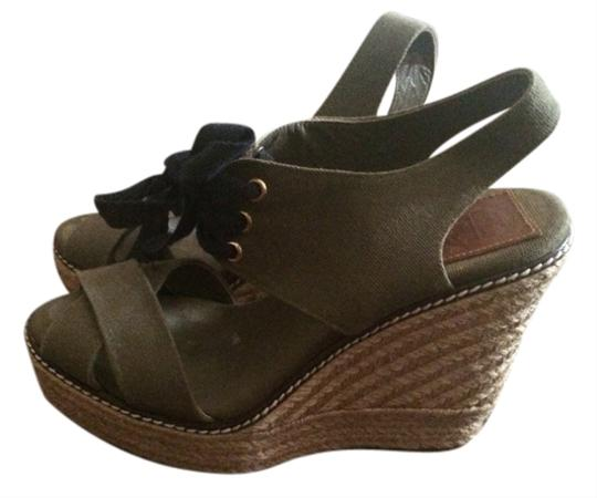 Tory Burch Army Green And Navy Wedges